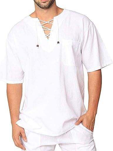 Camisa de Manga Corta Hombres SUNNSEAN Blusa Tops Color Liso ...
