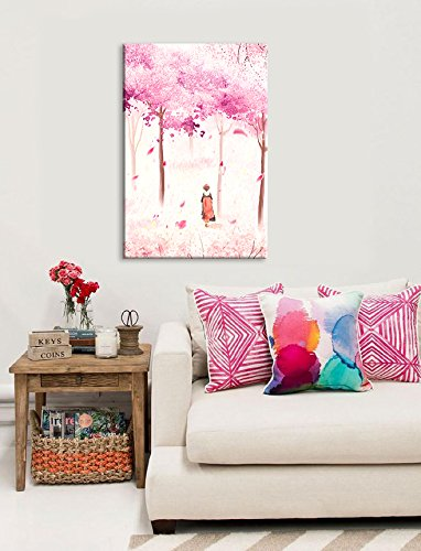 Traditional Chinese Style Painting of Pink Cherry Blossom in Spring
