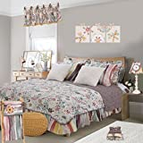 Cotton Tale Designs 100% Cotton Fun Multi Colored Retro Floral with Mosaic Polka Dot Dots & Stripes with Faux Fur Penny Lane Twin 5 Piece Reversible Quilt Bedding Set - Girl