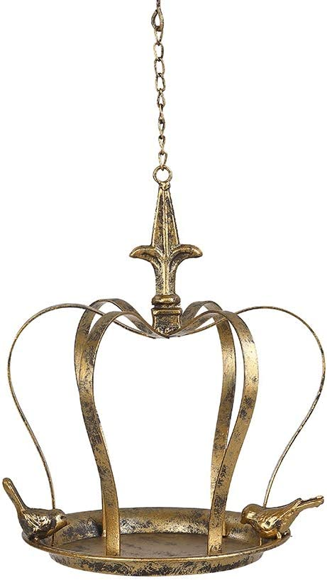 Brogan 8.5 Inch Wild Wrought Iron Bird Feeder Tray/Bowl for Outside Hanging, Decorative for Outdoor Garden Patio Backyard, Vintage Crown-Shaped with Iron Birds Accent (Gold and Black)
