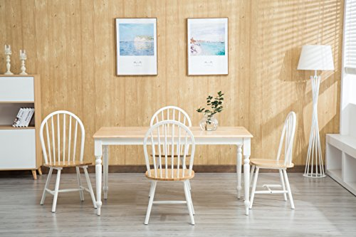Boraam 80369 Farmhouse 5-Piece Dining Room Set, White Natural