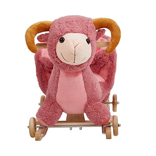 Livebest Baby Plush Rocking Horse Wooden Chair Rockers with Wheels,Seat Belt Kid Rocking Horse Chair/Outdoor Rocking Horse/Rocker/Animal Ride/Rocking Toy