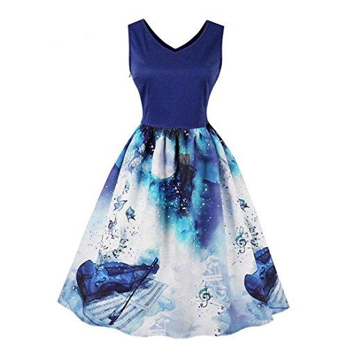 573cbf87a5 Tallas Grandes Vestidos Prom Azul Sin Mangas Fiesta Verano Vestido 2018  Correa Notas Lilicat® De Estampada Mujer qRtFxqdI