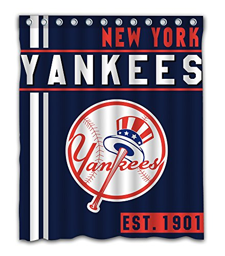 York Baseball Team Emblem Waterproof Shower Curtain Blue Design Polyester for Bathroom Decoration 60 x 72 Inches with 12-Pack Plastic Hooks