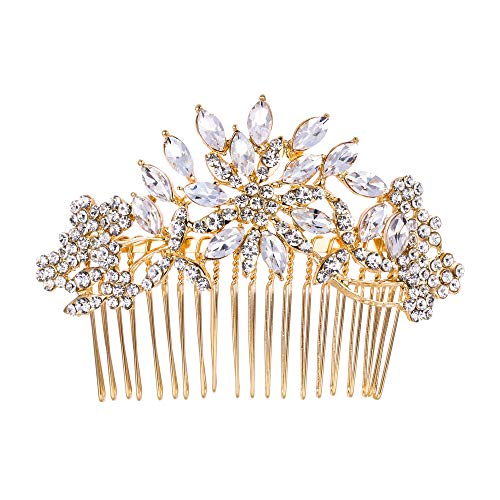 EVER FAITH Bridal Flower Snowflake Hair Comb Clear Austrian Crystal Gold-Tone