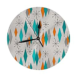 Round Wall Clock Mid Century Modern Desk Clocks Silent Decor Big Numerals Digital Quartz Clock Easy to Read for Garage Bathroom Creativity Accurate Sweep
