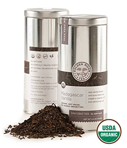 Golden Moon Tea - Madagascar Vanilla Tea - Organic - Loose Leaf - Non GMO - 2.5oz Tin - 30 Servings