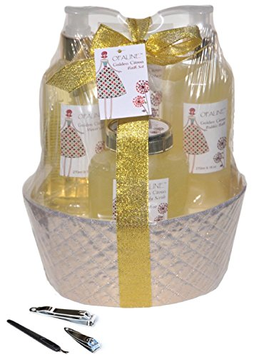 Cyber Monday Sale Deal 9 PIECE Gold Citrus Bubble Bath Bath Body Shower Spa Gift Set for Women Mom Mother in Law Hostess with Manicure Set (Mother's Day Gift Baskets Sale)