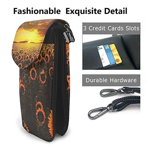 HYJUK Mobiltelefon crossbody väska solros fält solnedgång hav av blommor kvinnor PU-läder mode handväska med justerbar rem
