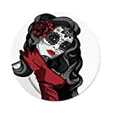 iPrint Polyester Round Tablecloth,Skull,Sexy Sugar Skull Lady with Mexican Style Floral Mask Evil Gothic Dead Art,Grey White Black Red,Dining Room Kitchen Picnic Table Cloth Cover,for Outdoor Indoor