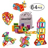Kidcheer Magnet Building Tiles, Magnetic 3D Building Blocks Set for Kids, Magnetic Educational Stacking Blocks Boys Girls Toys, 64 Piece