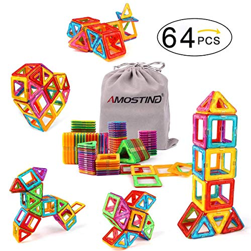 Kidcheer Magnet Building Tiles, Magnetic 3D Building Blocks Set for Kids, Magnetic Educational Stacking Blocks Boys Girls Toys, 64 Piece by Kidcheer