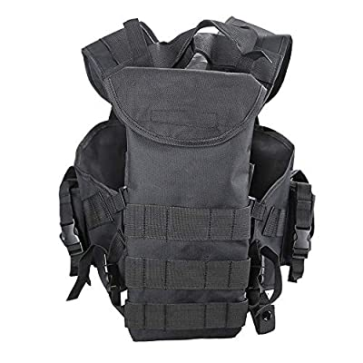Yeemoo Outdoor Tactical Vest with Removable Water Bag, Black Outdoor Tactical Airsoft Paintball Vest Carrying Tool Combat Vest Commando CS Field Equipment