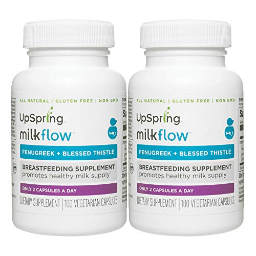 - UpSpring Baby Milkflow Fenugreek and Blessed Thistle Capsules for Breastmilk Supply, 200 Count Lactation Supplement Pills