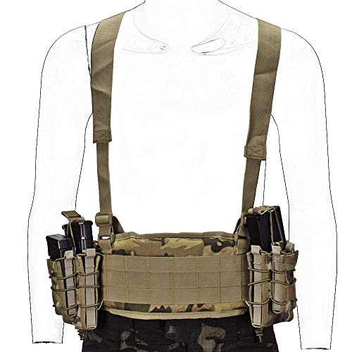 SINAIRSOFT Tactical Waist Belt with X-Shaped Suspenders Free Straps Airsoft Combat Padded Molle Belt CP