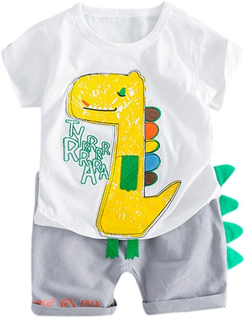 LMMVP B/éb/é Ensembles de B/éb/é Gar/çons Gar/çons T-Shirt Cartoon Animal Shorts Ensemble pour Enfant Gar/çons 12 Mois-5 Ans