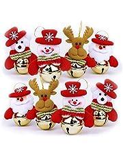 8 Pcs Christmas Decoration Set Christmas Bells Decorations for Home,Christmas Tree Ornaments Sets Santa, Snowman, Reindeer, Bear Jingle Bell Ornament Set