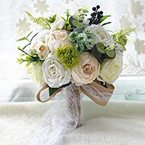ZTXY Bridal Bouquet Wedding Bouquets Wedding Silk Flower Rose Simulation Flower for Wedding Photo Shooting Party Home Decoration Flora 62