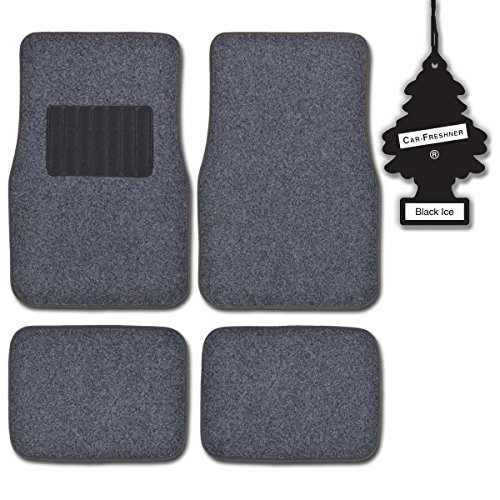 MotorTrend Dark Gray 4 Piece Premium Thick Carpet Ridged Car Floor Mats w/ ROYALPINE
