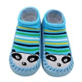 Respctful✿Baby Slip On Shoes Sock Winter Warm Socks Non-Slip Soft Sole Crib Shoes Slippers Cotton Kids Outdoor Shoes Socks Sky Blue
