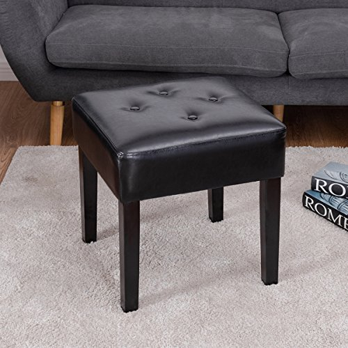 Giantex Square PU Leather Ottoman Bench for Bedroom Foot Rest Stool Tufted Padded Seat Solid Wood Legs, Black