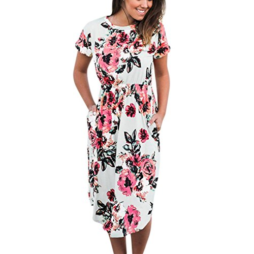 Long Dresses, FORUU Womens Floral Printed Short Sleeve Round Neck Casual Beach White