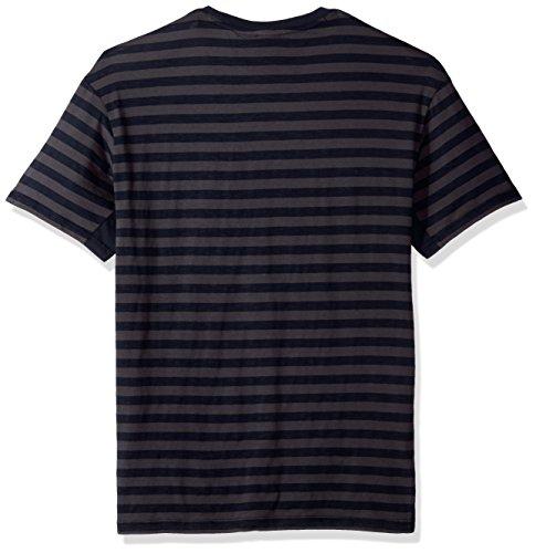 A X Armani Exchange Men's Striped Crew Neck Short Sleeved Tee, STRP Granite +Navy, Medium