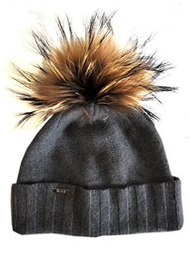 frost-hats-chic-and-classy-cashmere-hat-with-detachable-genuine-fox-fur-pom-csh-804rn-medium-gray