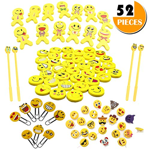 Emoji Emoticon Erasers Assorted Stationery Bulk Kit - 52 Piece Fun Prize Relief Toy Gift, Classroom Reward Teacher Incentives - Gel Pen Bookmark, Bonus Sealing Clip, Bday Party Favor Office Supplies by Youwith Joy