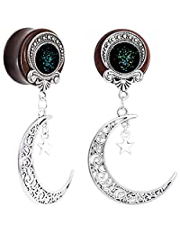 Body Candy Handcrafted Womens 2PC Beechwood Dark Crescent Moon Dangle Saddle Plug Set Ear Plug Gauges