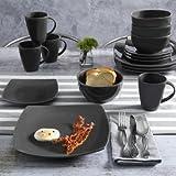 Contemporary Soho Lounge Square Stoneware Geometric Pattern 16-piece Dinnerware Set (gray) Review