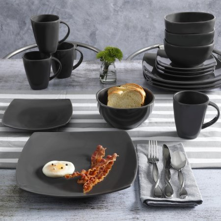 Contemporary Soho Lounge Square Stoneware Geometric Pattern 16-piece Dinnerware Set (gray) from MattsGlobal
