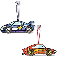Melissa & Doug Stained Glass Made Easy Race Car Ornaments Craft Kit (Makes 2 Ornaments)