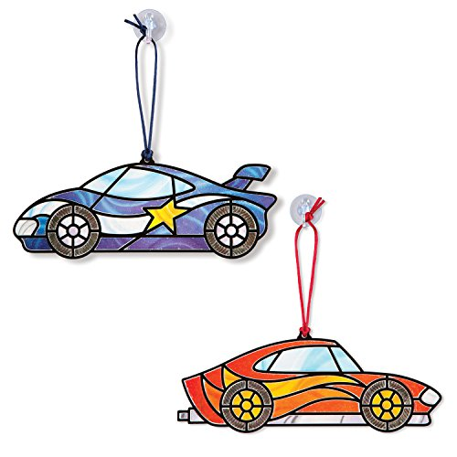 Race Grooved - Melissa & Doug Stained Glass Made Easy Race Car Ornaments Craft Kit (Makes 2 Ornaments)