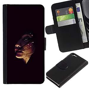EJOY---Tirón de la caja Cartera de cuero con ranuras para tarjetas / Apple Iphone 6 / --Face In The Dark