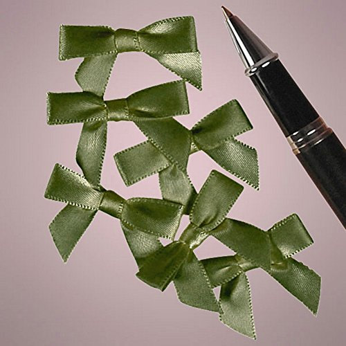 Mini Old Willow Green Satin Bows - 1 3/8 Inch Width (Satin Ribbon Willow)