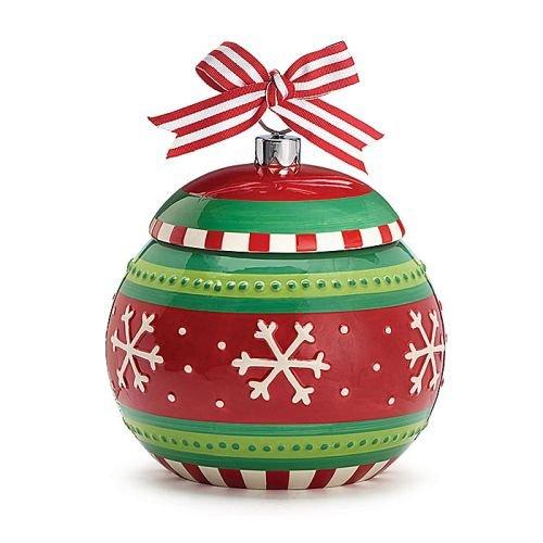 Snowflake Ornament Shaped Making Spirits Bright Holiday Christmas Ceramic Cookie Jar
