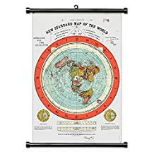 """Flat Earth Map - Gleason's New Standard Map Of The World - Large 24""""X36"""" Canvas Print Scroll Poster with Black Plastic Scroll Hanger Ready to Hang"""