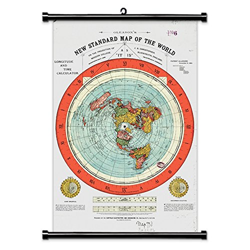 Flat Earth Map - Gleason's New Standard Map Of The World - L