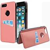 "iPhone 8 Plus Case, [Back Flip Kickstand] Credit Card Slot Case Protective Hybrid Case with Cards Slot Wallet for iPhone 6S Plus, iPhone 7 Plus,iPhone 8 Plus (Peach, iPhone 5.5"")"
