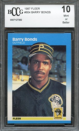 (1987 fleer #604 BARRY BONDS pirates rookie card (50-50 CENTERED) BGS BCCG 10 Graded Card)