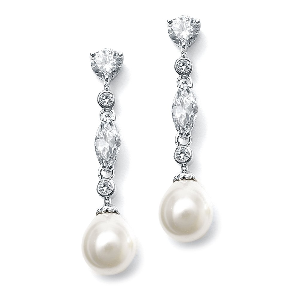 Mariell Linear Cubic Zirconia and Bold Pearl Teardrop Wedding Earrings for Brides - Platinum Plated by Mariell