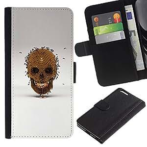 All Phone Most Case / Oferta Especial Cáscara Funda de cuero Monedero Cubierta de proteccion Caso / Wallet Case for Apple Iphone 6 PLUS 5.5 // Honey Bee Gold Skull Bronze Grey