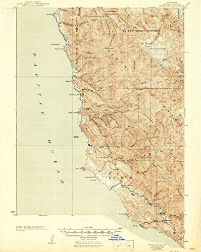 YellowMaps Point Sur CA topo map, 1:62500 Scale, 15 X 15 Minute, Historical, 1925, Updated 1946, 21.3 x 17 in - ()