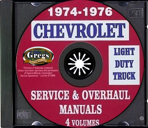 1974 1975 1976 Chevy Truck Shop Repair Service Manual - CD 74 75 76 (with Key Chain) ()