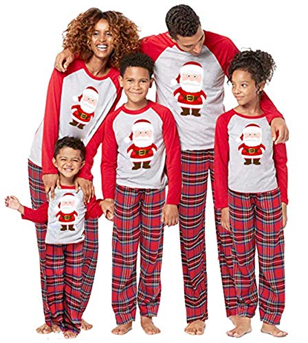 Christmas Pajamas for Family Santa Claus Print 2Pcs PJs Sets Long Sleeve T-Shirt+Plaid Pants Sleepwear Homewear (Mom, XXXL)