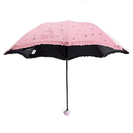 Paraguas plegable Sombrilla para niños plegable de vinilo estudiante Sombrilla para niña de dibujos animados (