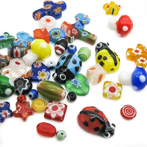 TOAOB 6mm 8mm 10mm 13mm Mix Shapes Colors Millefiori Lampwork Glass Beads Round Square star Heart pack of - Lampwork Beads Square