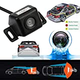 Glumes Universal Car Backing Camera, Rear View Backup Camera, 170° HD Easy-Installation Night Vision Anti Fog Glass Waterproof, Color CMOS, Fit For Car,Boat,Trailer,Camper,Truck (Black)