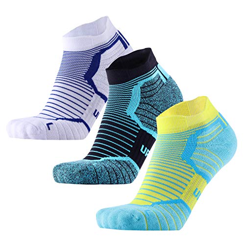 Blister Resist Cushion No Show Running Socks for Men and Women Moisture Wicking (white/black/yellow, US Women7-10/US Men6.5-8.5) (Best Trail Running Socks)